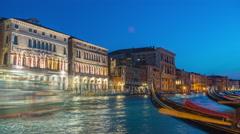 Night venice grand canal gandola parking panorama 4k time lapse italy Stock Footage