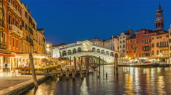 Night rialto bridge grand canal restaurant panorama 4k time lapse venice italy Stock Footage