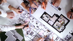 Business, people, technology and team work concept - close up of architects with Stock Footage