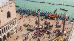 Day saint marko square palazzo ducale bay 4k time lapse venice italy Stock Footage