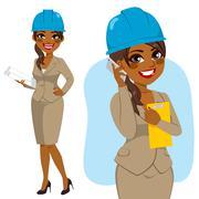 Architect Black Woman Stock Illustration