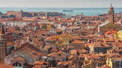 Day san marco campanile view point venice rooftop 4k time lapse italy Stock Footage