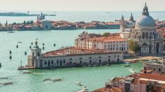 Venice santa maria della salute basilica campanile view 4k time lapse italy Stock Footage
