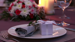 Beautiful Expensive Table Serving For A Romantic Dinner With Candles And Red Stock Footage