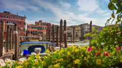 Day venice restaurant bay flowers grand canal traffic 4k time lapse italy Stock Footage