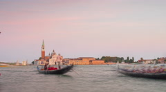 Sunset palazzo ducale church of san giorgio maggiore bay 4k time lapse italy Stock Footage