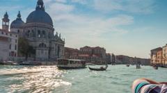 Santa maria della salute basilica road trip ferry 4k time lapse venice italy Stock Footage