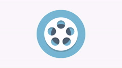 8K - Film reel icon symbol round logo Stock Footage