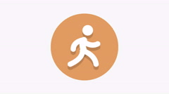 8K - Running icon symbol round logo Stock Footage