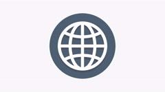 8K - Worldwide icon symbol round logo Stock Footage