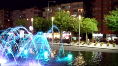 Fountains night water in city Stock Footage
