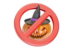 Halloween Pumpkin with Forbidden Sign, 3D rendering Stock Illustration