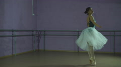 Young Smiling Ballerina Wearing white Tutu Dance in training hall Stock Footage