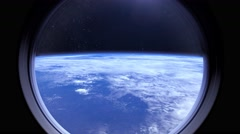 Earth as seen through window of International Space Station ISS Stock Footage