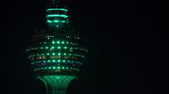 Timelapse of Menara KL Tower at night Stock Footage
