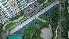 Timelapse aerial shot of landscape area outside apartment blocks Stock Footage