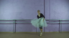 A fun ballerina in toe shoes dancing Stock Footage