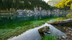 Majestic mountain lake Kaindy in mountains Kazakhstan Stock Footage