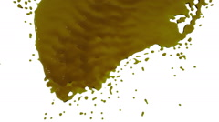 Yellow paint flows down over screen in slow motion. tinted oil Stock Footage
