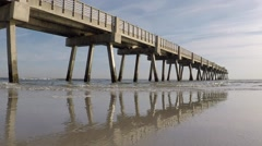 Beach Fishing Pier during the Day Stock Footage