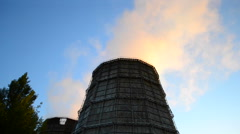 Large factory chimney with bright smoke morning Stock Footage