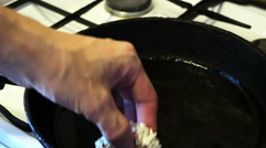 Chef roasting chicken in oil.  Stock Footage