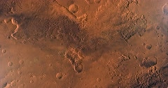 Tail camera view of turbulent rocket ascent from Mars' Chryse Basin. Stock Footage
