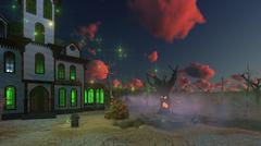 Haunted house and creepy trees at dusk Stock Illustration