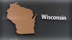 4K Wisconsin USA State Shape and Title Minimal Design with Matte 2 Stock Footage