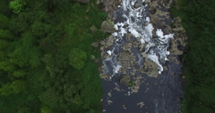 Close birds-eye-view aerial shot pushing over the top of Tequendama Falls Stock Footage