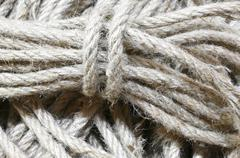 Background of many skeins of raw strings for sale in haberdashery Stock Photos