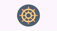 8K - Naval wheel icon symbol round logo Stock Footage