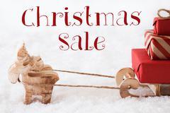 Reindeer With Sled On Snow, Text Christmas Sale Stock Photos