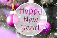 Rose Quartz Christmas Balls, Text Happy New Year Stock Photos