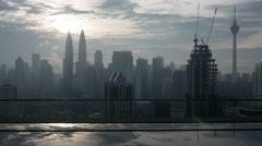 Timelapse of Kuala Lumpur, rooftop pool view Stock Footage