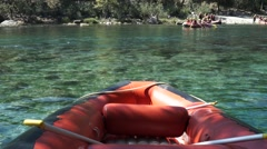 Rafting inflatable boat river sport play water Stock Footage