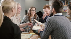 Business start-up meeting in a modern office happy beautiful young people Stock Footage