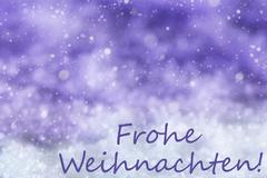 Purple Background, Snow, Snowflakes, Frohe Weihnachten Means Merry Christmas Piirros