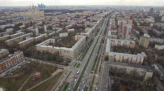 Panoramic aerial view of one of the districts of Moscow, road traffic, cloudy Stock Footage
