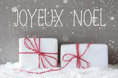 Two Gifts With Snowflakes, Joyeux Noel Means Merry Christmas Stock Photos