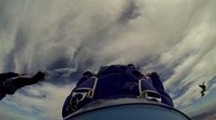 Skydiver open parachute above arizona. Scenery. Adrenaline. Summer sunny day Stock Footage
