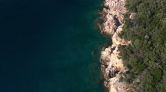 Aerial - Flying backwards above coastline of rocky shore and lush bushes Stock Footage