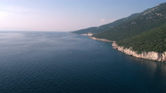 Aerial - Long shot of coastline in Adriatic sea at late afternoon Stock Footage