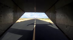 View of airplanes ride on runway. Speed. Transportation. Summer day. Take off Stock Footage