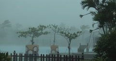 Hurricane Hits Resort With Violent Wind And Rain Stock Footage
