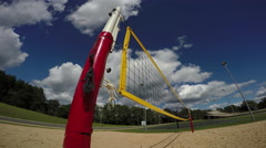 Volleyball net in playground, 4K Stock Footage