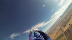 Professional skydiver open parachute above sandy country. Landscape. Sunny Stock Footage