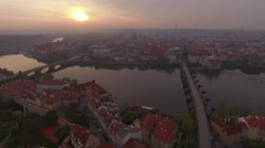 Prague architecture and Vltava river, aerial view Stock Footage
