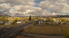 Aerial-Flying over newly paved main street small rural town cloudy morning Stock Footage