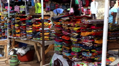 Shot of wiper, rag, shop in city market Bandim - Guinea Africa Stock Footage